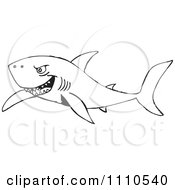 Clipart Black And White Shark 1 Royalty Free Vector Illustration by Dennis Holmes Designs