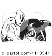 Clipart Black And White Shark And Cassowary Butting Heads Royalty Free Vector Illustration