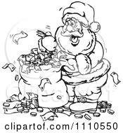 Black And White Santa With An Overflowing Money Bag