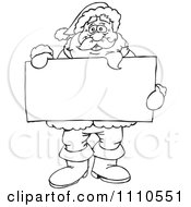 Black And White Santa Holding A Sign