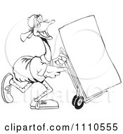 Clipart Black And White Aussie Emu Delivering Royalty Free Illustration by Dennis Holmes Designs