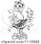 Clipart Black And White Aussie Wealthy Emu Bird With Cash Royalty Free Vector Illustration