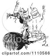 Clipart Black And White Aussie Emu With Cake At A Birthday Party Royalty Free Vector Illustration by Dennis Holmes Designs