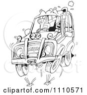 Clipart Black And White Man Four Wheeling In His SUV Royalty Free Vector Illustration