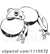 Clipart Black And White Croaking Frog 2 Royalty Free Illustration