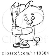 Clipart Black And White Aussie Wombat Golfing Royalty Free Illustration by Dennis Holmes Designs