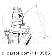 Clipart Black And White Aussie Wombat Fishing Royalty Free Illustration by Dennis Holmes Designs