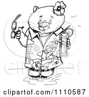 Clipart Black And White Aussie Wombat Wading In A Tropical Shirt With A Cocktail Royalty Free Vector Illustration by Dennis Holmes Designs