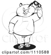 Clipart Black And White Aussie Wombat Holding Glasses Royalty Free Illustration by Dennis Holmes Designs