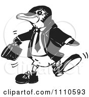 Clipart Black And White Business Penguin Royalty Free Vector Illustration by Dennis Holmes Designs