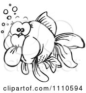 Clipart Black And White Goldfish Royalty Free Illustration by Dennis Holmes Designs