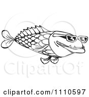 Clipart Black And White Fish Wearing Sunglasses Royalty Free Illustration