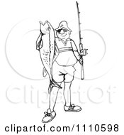 Clipart Black And White Fisherman Holding His Catch Royalty Free Illustration by Dennis Holmes Designs
