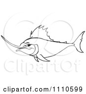 Clipart Black And White Marlin Fish Royalty Free Vector Illustration by Dennis Holmes Designs
