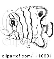 Clipart Black And White Salt Water Marine Fish 3 Royalty Free Vector Illustration by Dennis Holmes Designs