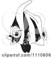 Clipart Black And White Salt Water Marine Fish 4 Royalty Free Vector Illustration by Dennis Holmes Designs