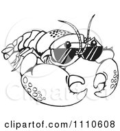 Clipart Black And White Crayfish Wearing Sunglasses Royalty Free Vector Illustration