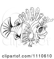 Clipart Black And White Lion Fish Royalty Free Vector Illustration