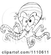 Clipart Black And White Ringed Octopus Royalty Free Vector Illustration by Dennis Holmes Designs