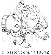 Clipart Black And White Octopus One Man Band Royalty Free Vector Illustration