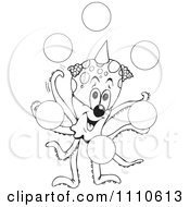 Clipart Black And White Octopus Clown Juggling Bubbles Royalty Free Vector Illustration by Dennis Holmes Designs