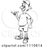 Clipart Black And White Cool Man Gesturing The Shaka Sign Royalty Free Vector Illustration by Dennis Holmes Designs
