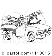 Clipart Black And White Man Driving His Truck With A Dog And Ladder In The Back Royalty Free Illustration