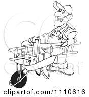 Black And White Friendly Handy Man Pushing Tools In A Wheel Barrow