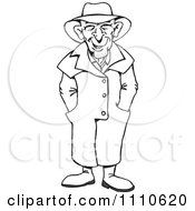 Clipart Black And White Man Wearing A Trench Coat Royalty Free Illustration