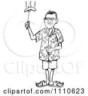 Clipart Black And White Man Holding A Bbq Hot Dog Royalty Free Vector Illustration by Dennis Holmes Designs