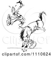 Poster, Art Print Of Black And White Rodeo Cowboy Being Bucked Off Of A Bronco