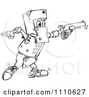 Clipart Black And White Man Covered In Armor And Shooting A Gun Royalty Free Vector Illustration