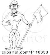 Clipart Black And White Buff Life Guard Man With A Flag Royalty Free Vector Illustration
