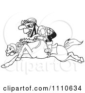 Clipart Black And White Jockey On A Leaping Horse Royalty Free Vector Illustration