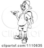 Clipart Black And White Guy Gesturing Hang Loose Royalty Free Vector Illustration by Dennis Holmes Designs