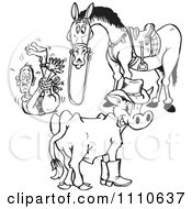 Clipart Black And White Cow And Horse By A Hog Tied Man Royalty Free Illustration by Dennis Holmes Designs