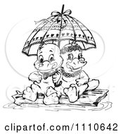 Clipart Black And White Aussie Platypus Couple Sitting On A Log Under An Umbrella Royalty Free Vector Illustration by Dennis Holmes Designs