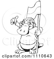 Clipart Black And White Aussie Platypus Holding A Flag And Thumb Up Royalty Free Vector Illustration by Dennis Holmes Designs