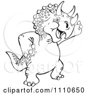 Clipart Black And White Leaning Triceratops Royalty Free Illustration by Dennis Holmes Designs
