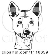 Clipart Black And White Aussie Dingo Head Royalty Free Illustration