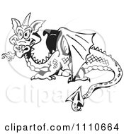 Black And White Fire Breathing Dragon
