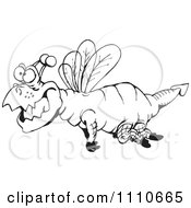 Clipart Black And White Dragonfly Royalty Free Illustration by Dennis Holmes Designs