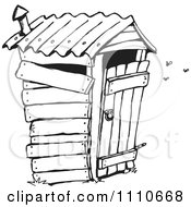 Clipart Black And White Stinky Outhouse Privy Royalty Free Illustration by Dennis Holmes Designs