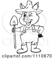 Clipart Black And White Pig Farmer Royalty Free Illustration