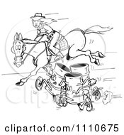 Clipart Black And White Equestrian Woman And Horse Racing Barrels Royalty Free Vector Illustration