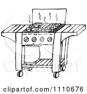 Clipart Black And White Gas Bbq Grill Royalty Free Vector Illustration