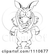 Clipart Black And White Angry Boar Royalty Free Vector Illustration
