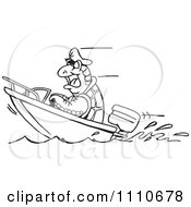 Clipart Black And White Boating Turtle Royalty Free Vector Illustration