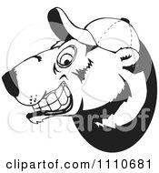 Clipart Black And White Polar Bear Grinning And Wearing A Baseball Hat Royalty Free Vector Illustration by Dennis Holmes Designs