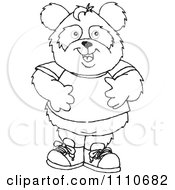 Clipart Black And White Panda Boy Standing Royalty Free Vector Illustration